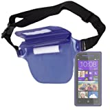 "DURAGADGET ""Travel"" Blue Waterproof Waist Bag With Adjustable Waist For HTC Windows Phone 8S, HTC Desire 600 Dual Sim, HTC Desire 6008t, One X 5 & Sensation XE Smartphones"