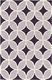 Purple & Gray Designer Rug Contemporary 5-Foot x 7-Foot 6-Inch Hand-Made Diamonds Carpet