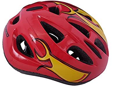 AMMACO FLAME FUSION MOULD BOYS 14 VENT SAFETY KIDS BIKE HELMET 48-54cm RED FLAMES by AMMACO