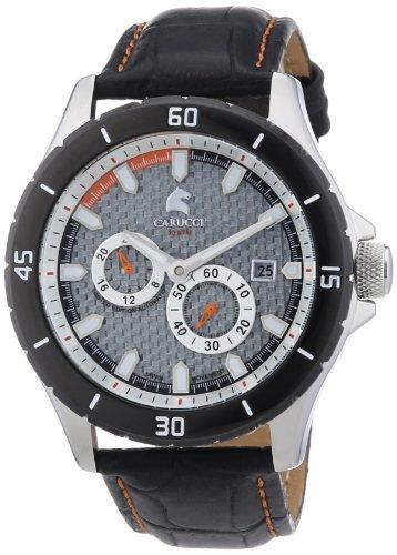 Carucci Watches CA2187SL - Reloj analógico automático para hombre, correa de cuero color negro (agujas luminiscentes, cifras luminiscentes)