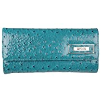 Kenneth Cole Reaction Womens Ostrich Print Elongated Clutch Wallet