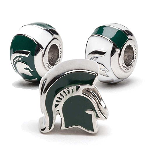 Michigan State Spartan Bead Charms - Set of 3 - Fits Pandora & Others