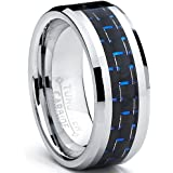 8MM Men's Tungsten Carbide Ring W/ BLACK & BLUE Carbon Fiber Inaly