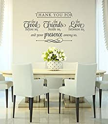 Vinyl Wall Decal - Thank You Wall Decal - Bless the Food Before Us - Dining Room Wall Quote - Love Between Us Wall Decal-22\