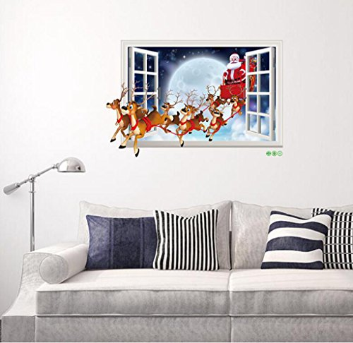 3d fenster weihnachten geschenke wohnzimmer 1 schlafzimmer glas dekoration wand aufkleber. Black Bedroom Furniture Sets. Home Design Ideas