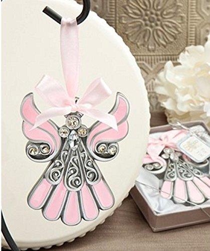 Pewter Color ANGEL ORNAMENT - BABY Gift - SHOWER Christening - KEEPSAKE Boy GIRL (Pink/Pewter Color - GIRL)