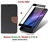 #8: Redmi 4 Flip Cover - For Luxury Mercury Diary Wallet Style Black Flip Cover Case for (Redmi 4 - May 2017 Launch) Redmi 4 Flip Cover + Premium 2.5D Curved 9H Hardness Tempered Glass screen protector (Brown-Black)
