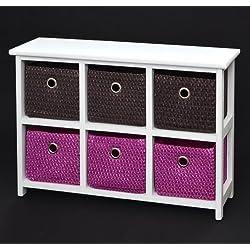 Kommode Nachttisch Sideboard Schrank 60 x 44 cm Bad Regal Weiß mit 2 x 3 bunte Körbe für Kinderzimmer, Büro, Bad, Flur und Babyzimmer