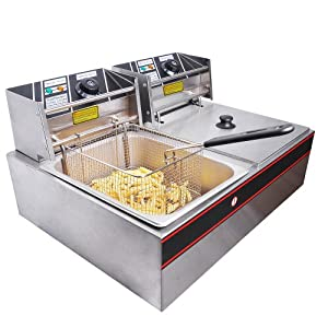5000W 12 Liter Electric Countertop Deep Fryer Dual Tank 6 Commercial Restaurant by Generic
