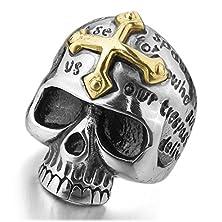 buy Men'S Stainless Steel Rings Silver Black Gold Skull Cross Bible Lords Prayer Gothic Size10