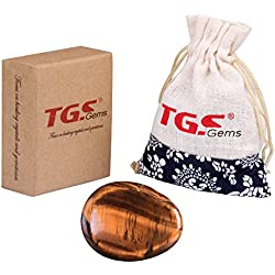 TGS Gems® Tiger Eye Carved Thumb Irish Worry Stone Healing Crystals Free Pouch Sold By 1pc