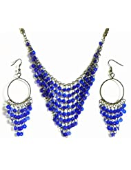 Blue Sequined Jhalar Necklace With Earrings - Acrylic And Metal