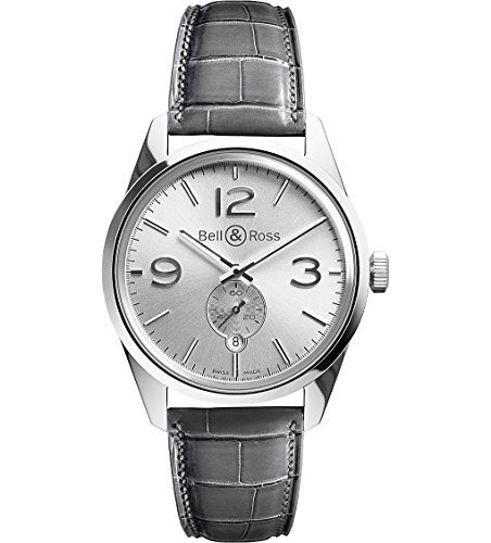 Bell and Ross Vintage Officer Silver Dial Grey Leather Mens Watch BRG123-WH-ST-SCR