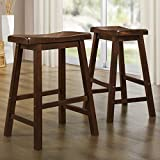 Metro Shop TRIBECCA HOME Salvador Cherry Low Saddleback Stool (Set of 2)-Salvador Saddle Back 24-inch Stool in Warm Cherry (Set of 2)