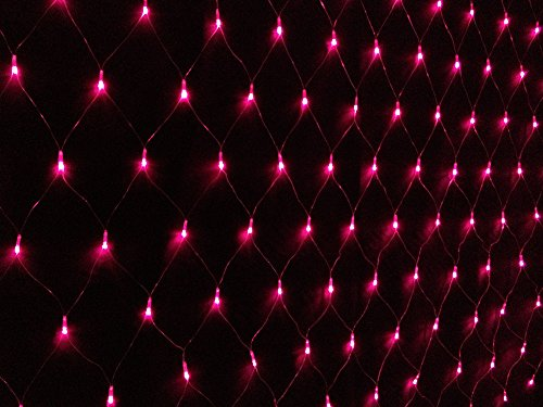 Tqs™6.7Ft X 9.8Ft 200 Leds Net Mesh Fairy Lights Twinkle Lighting Christmas Wedding Party Lights Red