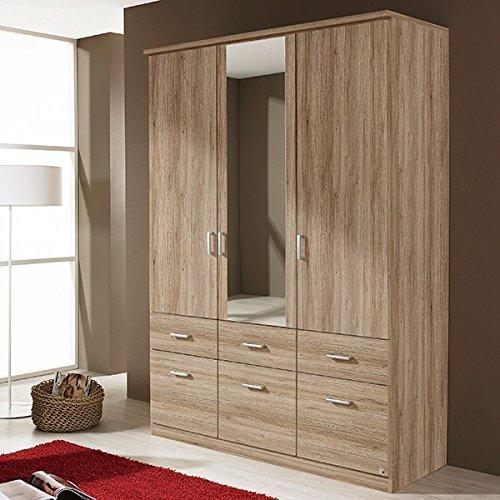 Kleiderschrank grau 3 Türen B 136 cm eiche sanremo hell Schrank Drehtürenschrank Wäscheschrank Spiegelschrank Kinderzimmer Jugendzimmer bestellen