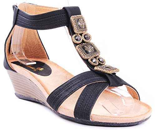 Beth Gem Jewel Beaded T-Strap Zipper Comfort Dress Wedge Heel Sandals