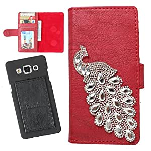 DooDa PU Leather Wallet Flip Case Cover With Rhinestone Peacock in Front And Card & ID Slots For vivo Xplay3S - Back Cover Not Included Peel And Paste