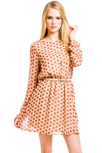 Longsleeve Floral Pattern Dress in Orange
