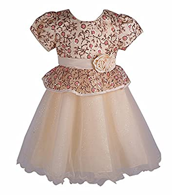 Beyougo Girls Wedding Party Dress with Flower and Sequin Illusion