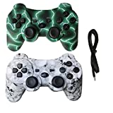 2 Pack Wireless Bluetooth Vibration Controller PS3, Gamepad Remote Playstation 3 Charge Cable - Green Lightning Skull Models (Color: Green Lightning and Skull Model)