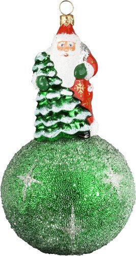 Ino Schaller Blown Glass Polish Green Kugel Santa Ornament by Joy to the World Collectibles