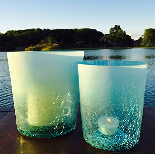 The Beach Chic Aqua Marine Blue Crackle Hurricane Wind-lights, Set of 2 with Frosted Rims, Artisinal Glass, Hand Blown and Molded, 5 and 6 Inches Tall, By Whole House Worlds