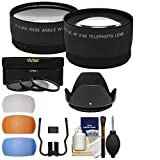 Essentials Bundle for Canon Rebel SL1, T3, T3i, T4i, T5, T5i, T6i, T6s DSLR Camera & 18-55mm Lens + Telephoto & Wide-Angle Lenses + 3 UV/CPL/ND8 Filters + 4 Diffusers + Lens Hood Kit