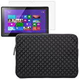 BIRUGEAR Black Diamond Foam Splash & Shock Resistant Sleeve Case with Screen Protector for Toshiba WT310 - 11.6 inch Windows 8 Pro Tablet