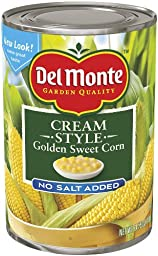 Del Monte Golden Sweet Cream Corn, No Salt Added, 14.75-Ounce Cans (Pack of 12)