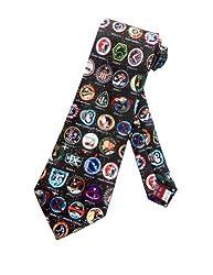 Museum Artifacts Mens NASA Space Mission Badges Necktie - Black - One Size Neck Tie