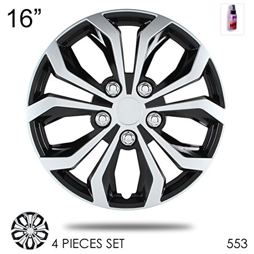 New Design 16 inch Hubcaps Spyder Performance Black and Silver Wheel Covers Hub Cap Full Lug Skin Set 553 with 2 oz Travel Size Purple Slice (Black Hubcaps For Honda Accord compare prices)