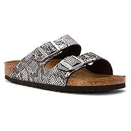 Birkenstock Women\'s Arizona Soft Footbed Sandal Python Silver Leather Size 38 N EU