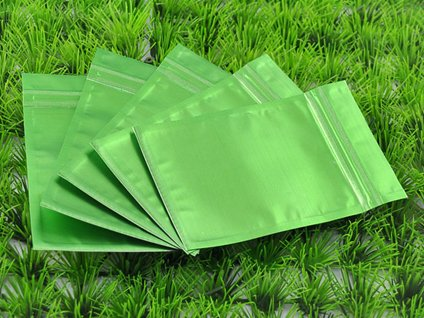 100 PCS Green Metallic Foil Zip Lock Bags 8.5cm x 13cm 3.3″ x 5″