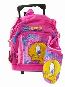 Warner Bros Tweety Bird kids luggage - Pink Fashion children wheeled back pac...