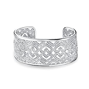 Bling Jewelry Open Hearts Wide Cuff Clear CZ Dotted Statement Bracelet Silver Plated