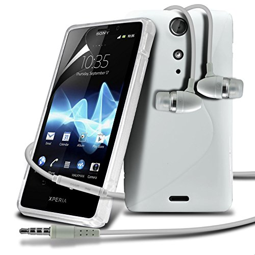 Sony Ericsson Xperia Tx Lt29I White S Line Wave Gel Case Skin Cover With Lcd Screen Protector Guard, Polishing Cloth & Hands Free Earphone With Built In Microphone Mic & On-Off Button By Fone-Case