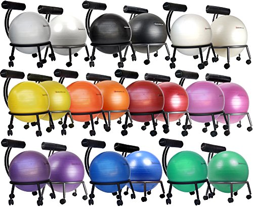 Isokinetics Inc. Brand Fitness Ball Chair - Solid Black Metal Frame Finish - Exclusive: 60mm (2.5