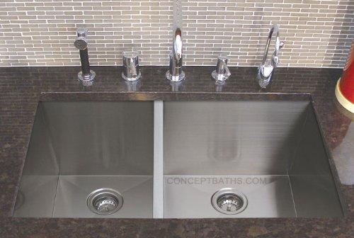 33 16 Gauge Stainless Steel Zero Radius Undermount Kitchen Sink Internal Wooden Doors