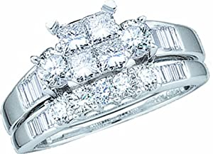 Ladies 10k White Gold 1 Ct Princess Baguette Round Cut Diamond Wedding Engagement Bridal Ring Set by Rodeo Jewels Co