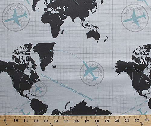 cotton-detour-world-map-airplane-flying-immigration-gray-cotton-fabric-print-by-the-yard-c3630-gray
