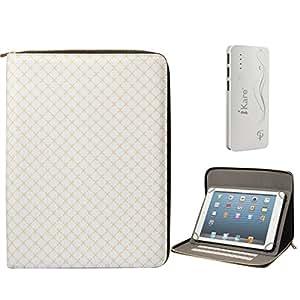 DMG Premium Stitched Durable Portfolio Bag with Accessory Pockets for Digitab Dt-Lm72t (Textured White) + 10000 mAh Three USB Port Power Bank