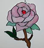 Stained Glass 7.5 Inch X 10 Inch Pink Rose Sun Catcher [9051-b]