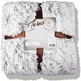 Kuscheldecke Winter 150x200 Fell-Optik Fleece Longhair Minka creme weiss braun Felloptik kuschelig / flauschig weich warm