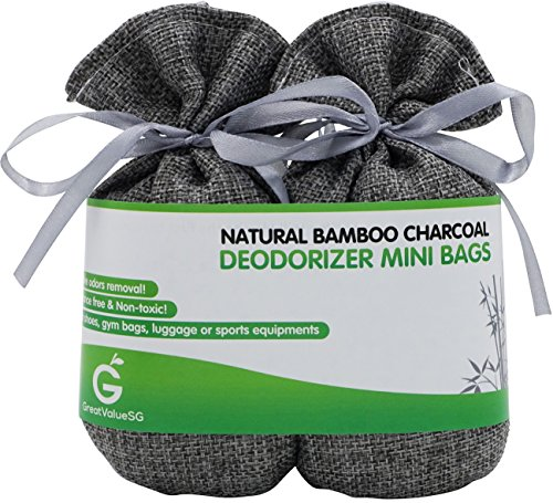 BUY MORE SAVE MORE Great Value SG Bamboo Charcoal Deodorizer Mini Bags, Best Air Purifiers for Smokers & Allergies, Perfect Odor & Moisture Absorber for Shoe, Gym Bag, Drawer & Locker (Silver Grey) (Baking Soda Room Freshener compare prices)