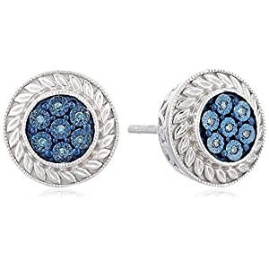 Sterling Silver Blue Diamond Accent Stud Earrings