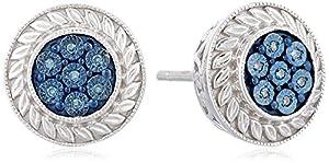 Sterling Silver Blue Diamond Accent Stud Earrings