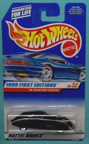 Mattel Hot Wheels 1999 First Editions 1:64 Scale Black 1938 Phantom Corsair Die Cast Car #003