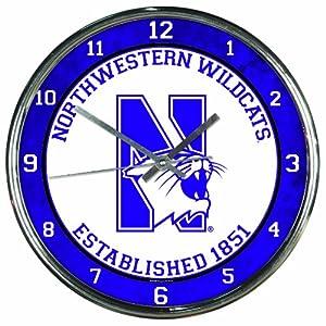 Buy NCAA Northwestern Wildcats Chrome Clock by WinCraft
