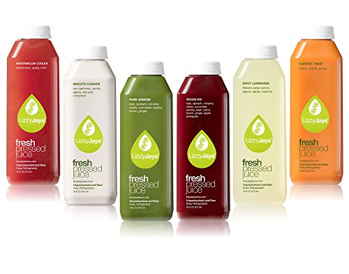 LizzyJays Juice Cleanse 6-Pack: From Our Garden to Your Door, Non-GMO, 1-Day Juice Cleanse - Juicing Detox With 6 Veggie And Fruit Combos (Raw Pressed Juice compare prices)